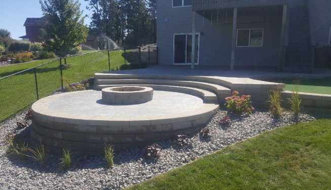 Back patio with fire pit