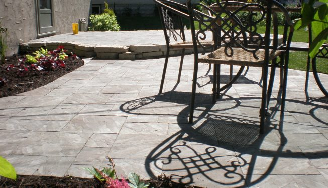 layered patio with table