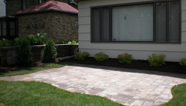 Patio and freestanding wall